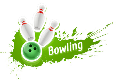 Skittles and ball for playing the bowling game over grunge splash. Eps10 vector illustration. Isolated on white background
