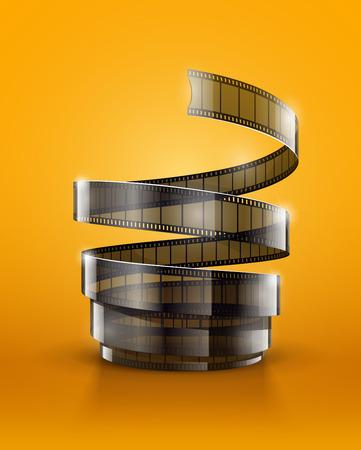 Spiral of cinematography film tape.  Illustration
