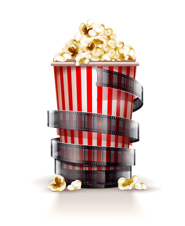 Papier container vol popcorn. Stock Illustratie