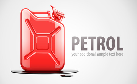 Red fuel canister for petrol in black oil drop.  vector illustration. Vector
