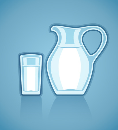 Jug and full glass with milk. Vector illustration
