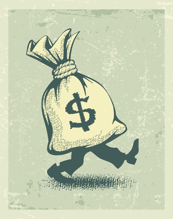 Full sack of money sign dollar with legs walking in retro style. Eps10 vector illustration Vector