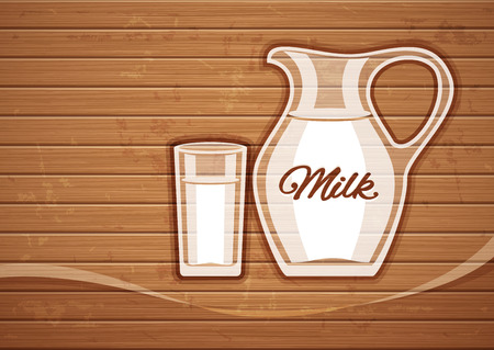 Jug and full glass with milk over wooden plate. Vector illustration Vector