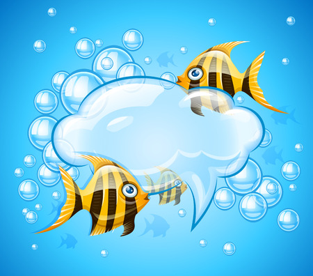 Bubbles cloud in aquarium with gold fishes. Vector illustration