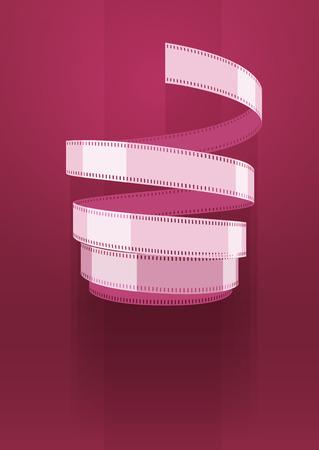 Concept sign cinematograph film tape.Vector illustration. On blue background Vector