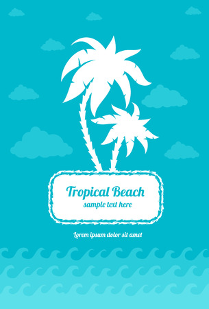 Tropica beach palms sign with clouds and sea waves. Eps10 vector illustration Illustration