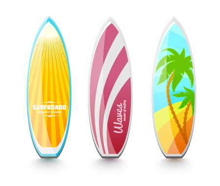 Set of surfboards for surfing. Isolated on white background Vector