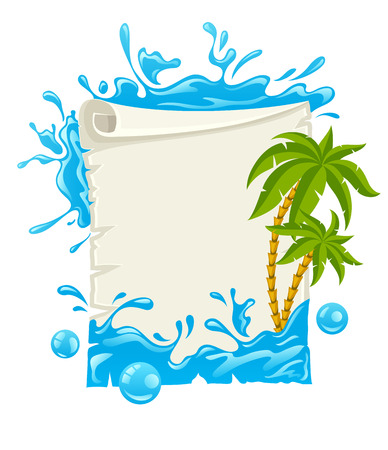 Travel poster with water splashes and palms. Eps10 vector illustration. Isolated on white background