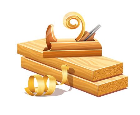 Des planches de bois râpé par outil de rabotage et les dépôts sciures. Banque d'images - 31602440