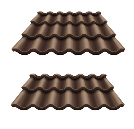 Dark chocolate corrugated tile element of roof.
