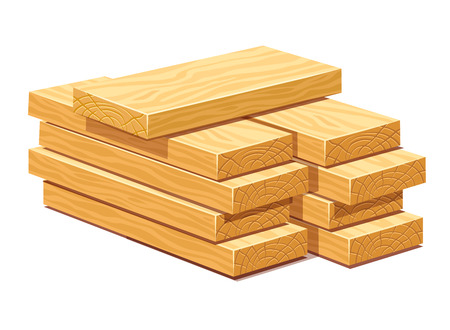 Pile of rasped wooden timber planks for building construction or floring. Eps10 vector illustration. Isolated on white background