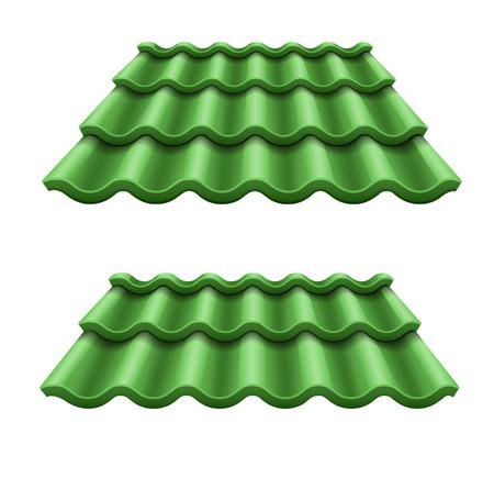 지붕의 녹색 골 판지 타일 요소입니다. Eps10 벡터 일러스트 레이 션. 흰 배경에 고립