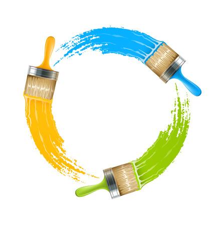 Círculo de cepillos con colores dibujo pintura. Ilustración vectorial Eps10. Aislado en el fondo blanco
