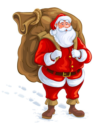 Santa claus with big sack of gifts. Eps10 vector illustration. Isolated on white background