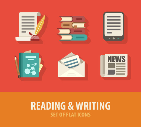 Literature reading and writing set of flat icons.