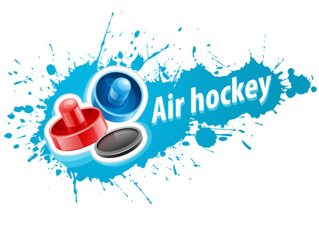 Mallets and puck for playing air hockey game over paint splash with blot drops. Eps10 vector illustration. Isolated on white background Illustration
