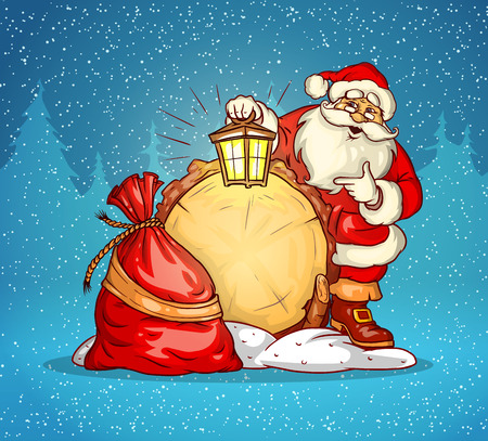 Santa claus with lantern and sack of gifts. Eps10 vector illustration