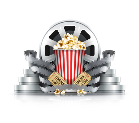 Popcorn film-strips and disks with cinema tickets to movie theater. Eps10 vector illustration. Isolated on white background 免版税图像 - 34237680