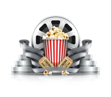 Popcorn film-strips en schijven met bioscoopkaartjes tot bioscoop. Eps10 vector illustratie. Geïsoleerd op witte achtergrond Vector Illustratie