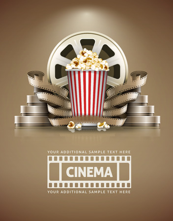 Cinema concept met popcorn en cinefilmss retro stijl. Stock Illustratie