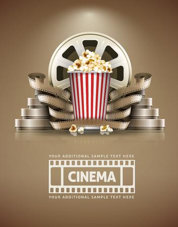Cinema concept met popcorn en cinefilmss retro stijl. Stockfoto - 34492604