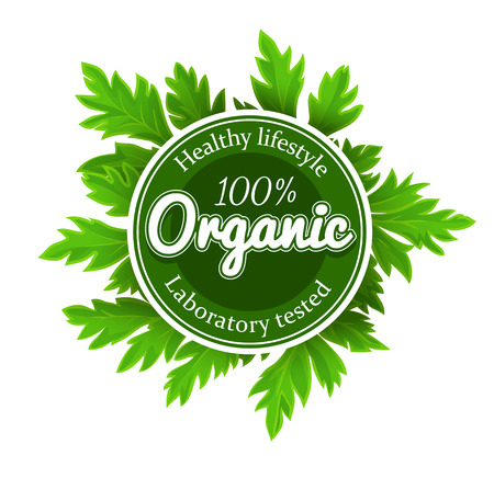 Organic round logo sign label with green leaves. Eps10 vector illustration. Isolated on white background Иллюстрация