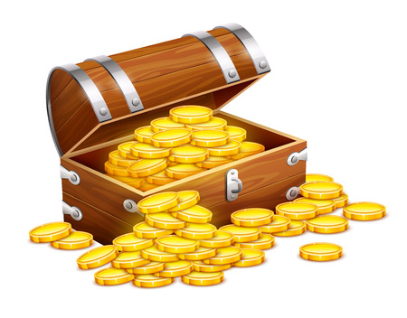 Pirates trunk chest full of gold coins treasures. Eps10 vector illustration. Isolated on white background