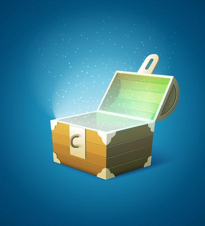 Magic fairytale wooden trunk empty with lights. vector illustration Stock Illustratie