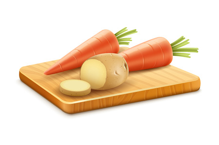 Organic vegetables carrots potatoes cut on wooden board. Eps10 vector illustration. Gradient mesh used. Isolated on white background Stock Vector - 35400859