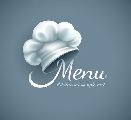 Menu logo met chef-kok cap. Eps10 vector illustratie. Gradient mesh gebruikt Stockfoto - 35401654