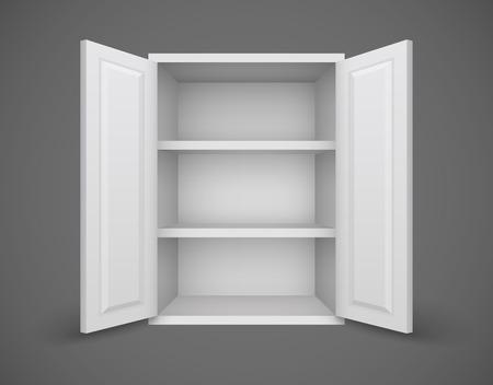 空の本棚と扉を開くボックスの内部に何も。Eps10 ベクトル イラスト