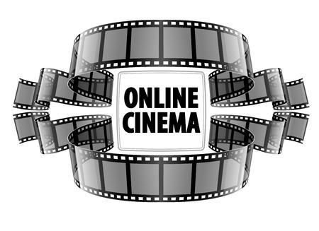 Online cinema video film. Eps10 vector illustration. Isolated on white background
