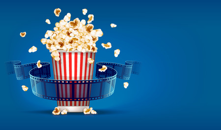 Popcorn for cinema and movie film tape on blue background. Vectores