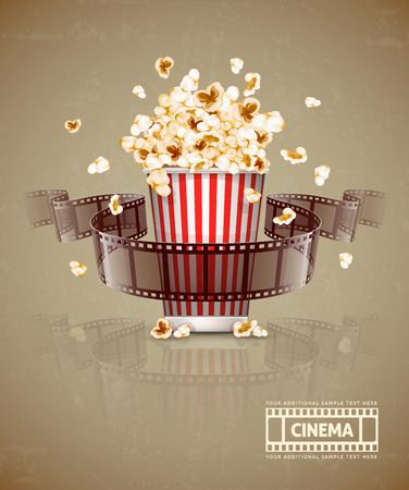 Jumping popcorn and movie film tape. Eps10 vector illustration. Isolated on white background