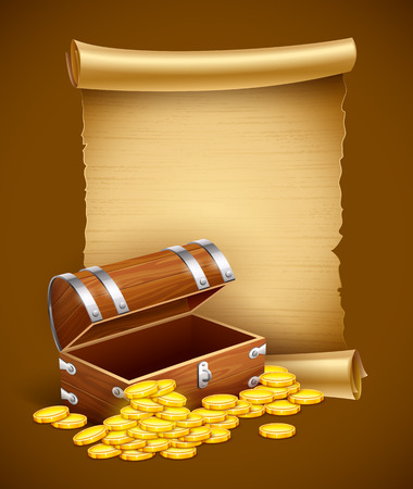 Pirate treasures in trunk and old script. Eps10 vector illustration Stock Illustratie