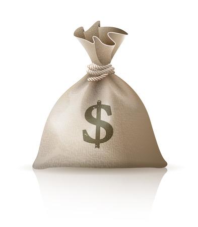Full sack with money dollars. Eps10 vector illustration. Isolated on white background
