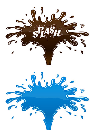 Chocolate and water splashes with drops and blot. Eps10 vector illustration Illustration