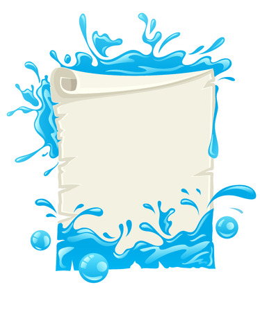 Paper script poster design blank template with water splashes. Eps10 vector illustration. Isolated on white background
