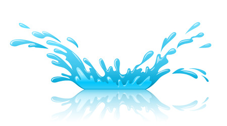 Water splash pool with drops and reflection. Eps10 vector illustration. Isolated on white background