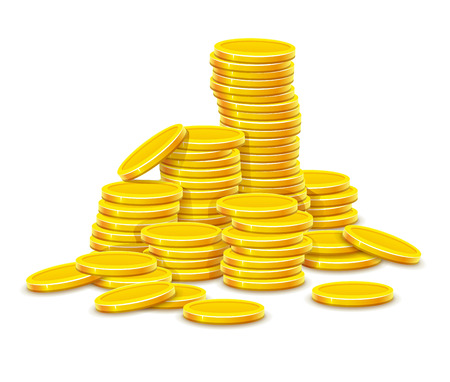 Gold coins cash money in rouleau. Isolated on white background