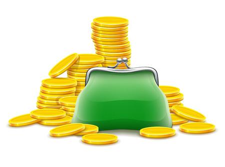지갑과 금화 돈을 현금. 흰색 배경에 고립 일러스트