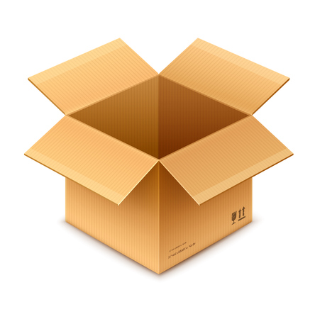 open box cardboard package isolated on transparent white background