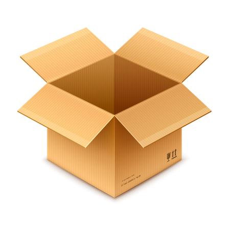 Open doos karton pakket geïsoleerd op transparante witte achtergrond Stockfoto - 43154173