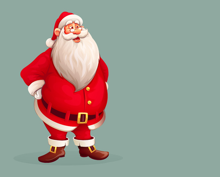 Smiling Santa Claus standing alone. Eps10 vector illustration