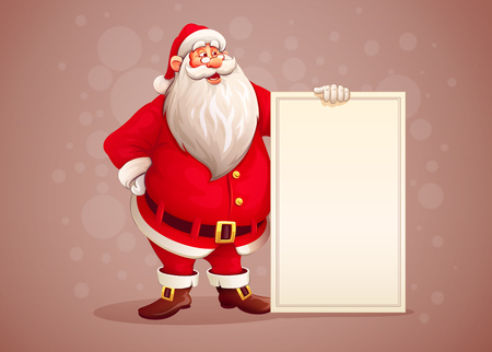 Merry Santa Claus standing with christmas greetings banner in arm. vector illustration Stock Illustratie
