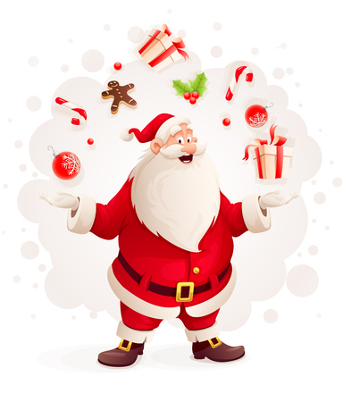 Merry Santa Claus juggles with Christmas gifts and sweets as magician. Eps10 vector illustration. Isolated on white background
