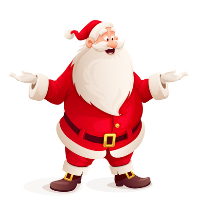 サンタ クロースの手を投げます。Eps10 のベクター イラストです。白い背景に分離  イラスト・ベクター素材
