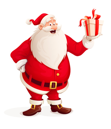 Merry Santa Claus with Christmas gift in hand. round Illustration