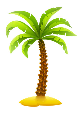 Coconut palm tree on sand island. Eps10 vector illustration. Isolated on white background Çizim