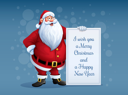 Merry Santa Claus standing with christmas greetings banner in arm. Eps10 vector illustration Иллюстрация